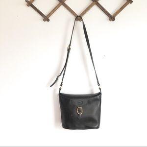 Longchamp Black Brass Buckle Crossbody Bucket Bag
